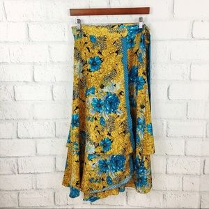 Vintage silk floral print wrap Skirt from India